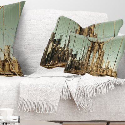 Manhattan Bridge in New York Brown Cityscape Pillow Size: 12 x 20, Product Type: Lumbar Pillow