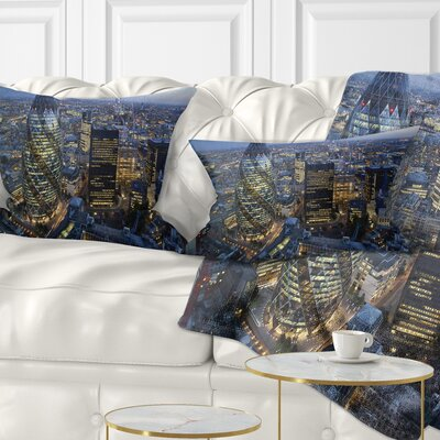 London Skyline at Sunset Cityscape Pillow Size: 12 x 20, Product Type: Lumbar Pillow