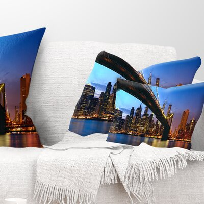 Manhattan City with Bridge Under Blue Sky Cityscape Pillow Size: 12 x 20, Product Type: Lumbar Pillow