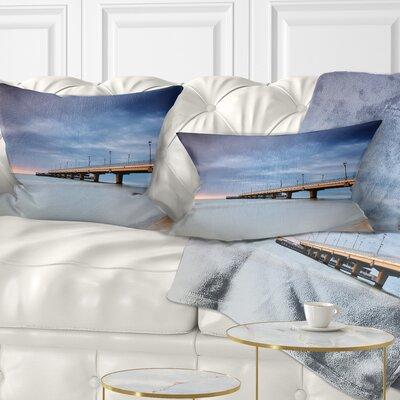 Long Concrete Pier into Sea Sea Bridge Pillow Size: 12 x 20, Product Type: Lumbar Pillow