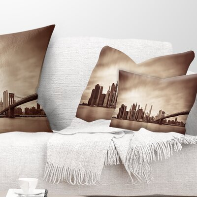 Manhattan Financial District Cityscape Pillow Size: 12 x 20, Product Type: Lumbar Pillow