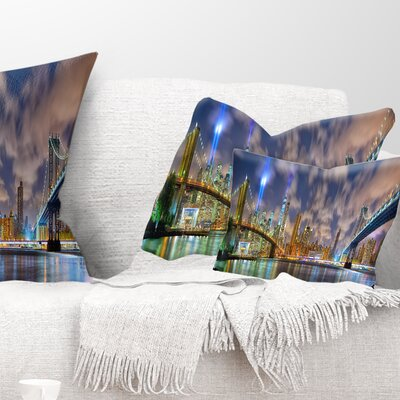 Manhattan in Memory of September 11 Cityscape Pillow Size: 12 x 20, Product Type: Lumbar Pillow