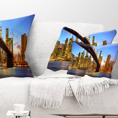 Manhattan Panorama with Skyscrapers Cityscape Pillow Size: 12 x 20, Product Type: Lumbar Pillow