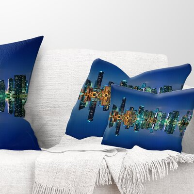 Miami Skyline at Night with Reflection Cityscape Pillow Size: 12