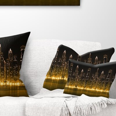 Modern City with Illuminated Skyscrapers Cityscape Pillow Size: 12 x 20, Product Type: Lumbar Pillow
