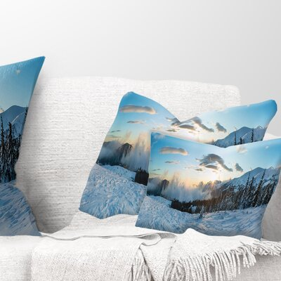 Morning Winter Carpathian Mountains Landscape Printed Pillow Size: 12 x 20, Product Type: Lumbar Pillow