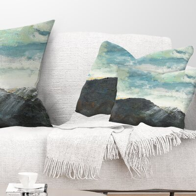 Mountain Peak Under Cloudy Sky Landscape Painting Pillow Size: 12 x 20, Product Type: Lumbar Pillow