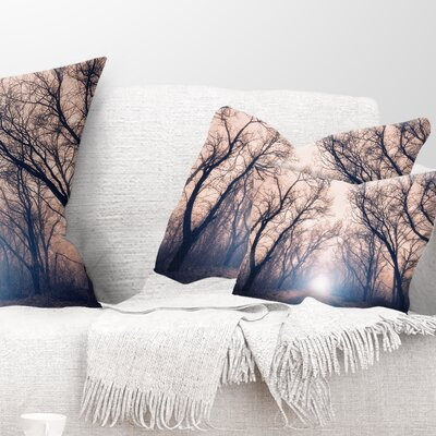 Mysterious Sunlight in Forest Landscape Photo Pillow Size: 12 x 20, Product Type: Lumbar Pillow