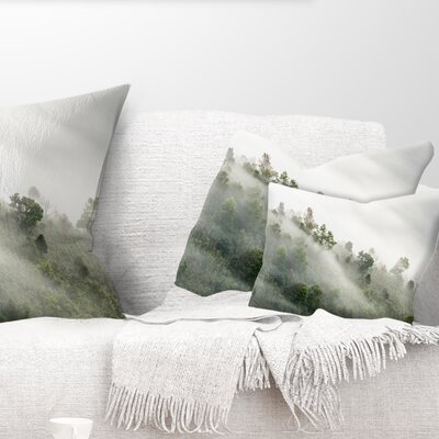 Mystical Foggy Mountain Slope Landscape Photography Pillow Size: 12 x 20, Product Type: Lumbar Pillow