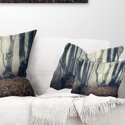 Mystical Fog in Fall Forest Landscape Photography Pillow Size: 12 x 20, Product Type: Lumbar Pillow