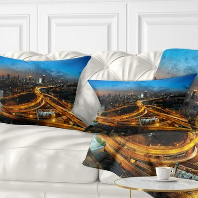 Illuminated Highway in Bangkok Cityscape Pillow Size: 12 x 20, Product Type: Lumbar Pillow