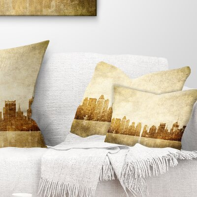 New York Skyline Grunge View Cityscape Pillow Size: 12 x 20, Product Type: Lumbar Pillow