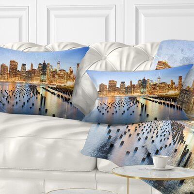 Illuminated New York Skyscrapers Cityscape Pillow Size: 12 x 20, Product Type: Lumbar Pillow