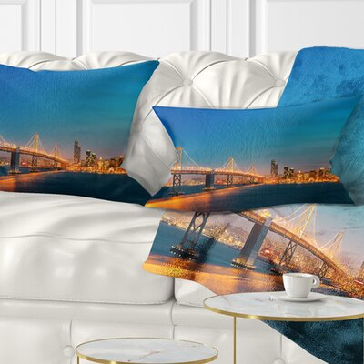 Illuminated San Francisco Skyline Cityscape Pillow Size: 12 x 20, Product Type: Lumbar Pillow