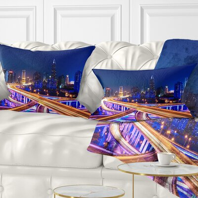 Interchange overpass at Night Skyline Cityscape Pillow Size: 12 x 20, Product Type: Lumbar Pillow
