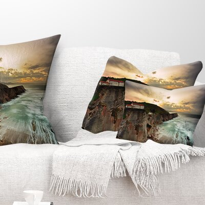 Ocean Hitting Rocky Hill Seashore Photo Pillow Size: 12 x 20, Product Type: Lumbar Pillow