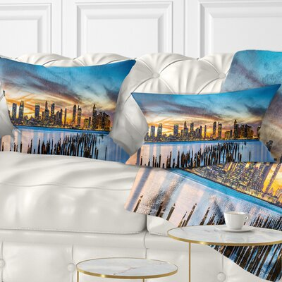 Jersey City Panorama at Sunset Cityscape Pillow Size: 12 x 20, Product Type: Lumbar Pillow