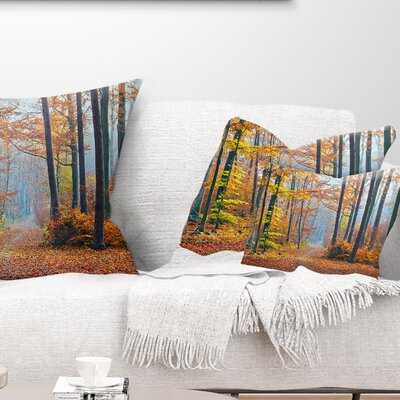 Fall Leaves in Forest Landscape Photography Pillow Size: 12 x 20, Product Type: Lumbar Pillow