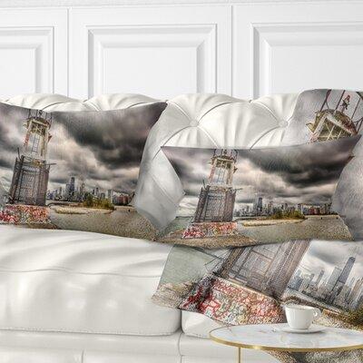 Lake Michigan Navigation Light Cityscape Pillow Size: 12 x 20, Product Type: Lumbar Pillow
