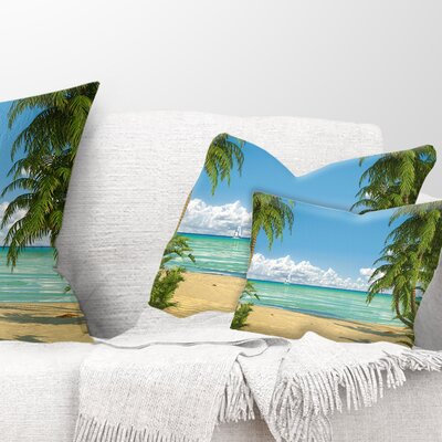 Palms at Caribbean Beach Seashore Photo Pillow Size: 12 x 20, Product Type: Lumbar Pillow