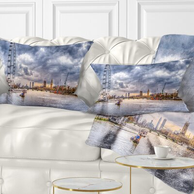 London Skyline and River Thames Cityscape Pillow Size: 12 x 20, Product Type: Lumbar Pillow
