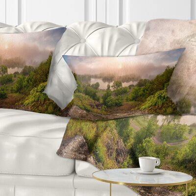 Rising Above the River Mist Landscape Photo Pillow Size: 12 x 20, Product Type: Lumbar Pillow