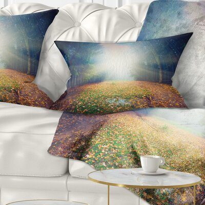 Rising Sun over Arched Forest Landscape Photo Pillow Size: 12 x 20, Product Type: Lumbar Pillow