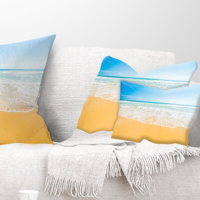 Long Waves on Sand Under Sky Seascape Pillow Size: 12 x 20, Product Type: Lumbar Pillow