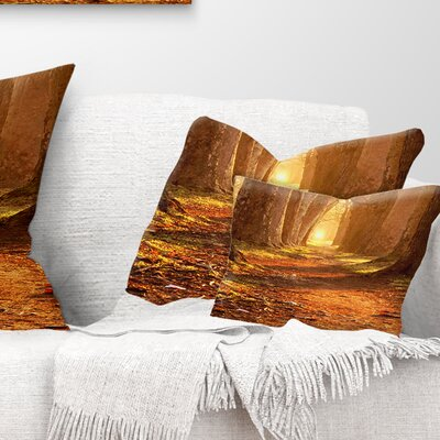 Magic Morning at the Fall Park Landscape Photography Pillow Size: 12 x 20, Product Type: Lumbar Pillow