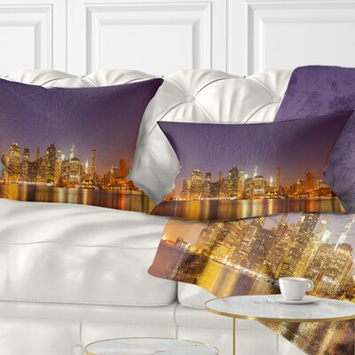 Illuminated NYC Downtown Buildings Cityscape Pillow Size: 12 x 20, Product Type: Lumbar Pillow