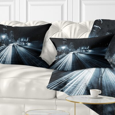 Illuminated Traffic Trail in Downtown Seattle Cityscape Pillow Size: 12 x 20, Product Type: Lumbar Pillow