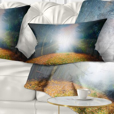 Rising Sun over Forest Landscape Photo Pillow Size: 12 x 20, Product Type: Lumbar Pillow