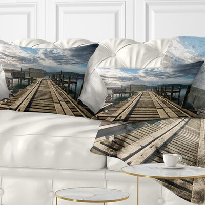 Large Wooden Bridge in New Zealand Sea Bridge Pillow Size: 12 x 20, Product Type: Lumbar Pillow