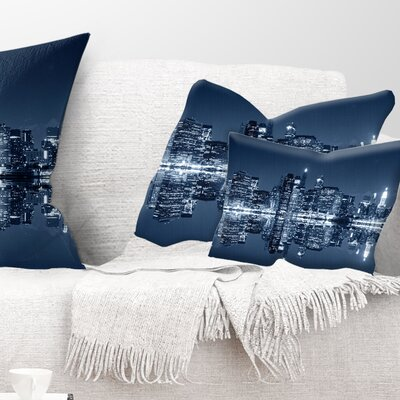 Manhattan Night Reflection Cityscape Pillow Size: 12 x 20, Product Type: Lumbar Pillow