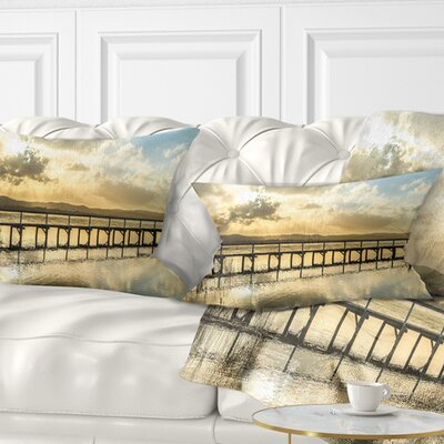 Long Jetty Foreshore Reserve Panorama Sea Bridge Pillow Size: 12 x 20, Product Type: Lumbar Pillow