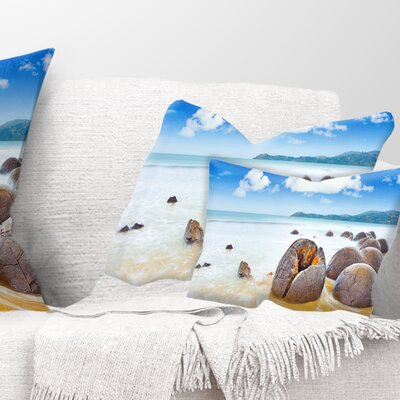 Midday Moeraki Boulders Seashore Photo Pillow Size: 12 x 20, Product Type: Lumbar Pillow