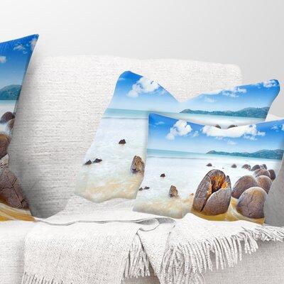 Midday Moeraki Boulders Seashore Photo Pillow Size: 12