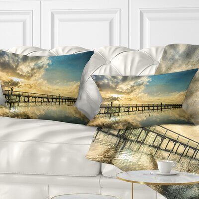Long Jetty Foreshore Reserve with Clouds Sea Bridge Pillow Size: 12 x 20, Product Type: Lumbar Pillow