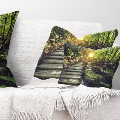 Misty Journey Ahead Landscape Photography Pillow Size: 12 x 20, Product Type: Lumbar Pillow