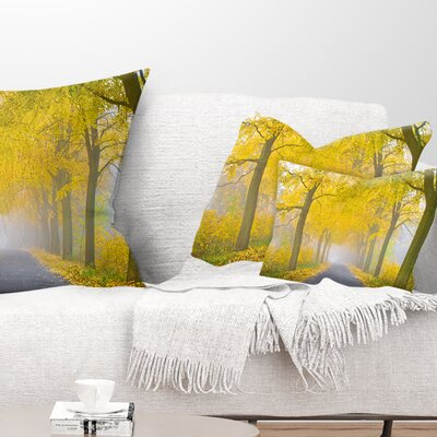 Misty Road in Autumn Forest Landscape Photography Pillow Size: 12 x 20, Product Type: Lumbar Pillow