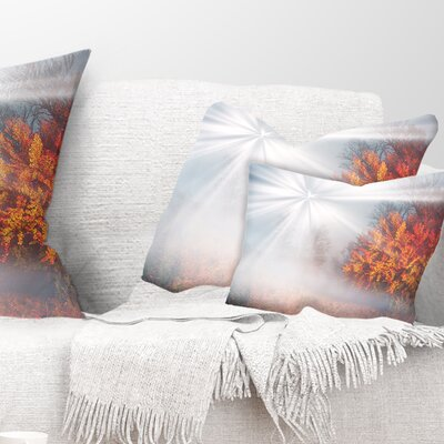 Misty Sun in Autumn Forest Landscape Photography Pillow Size: 12 x 20, Product Type: Lumbar Pillow