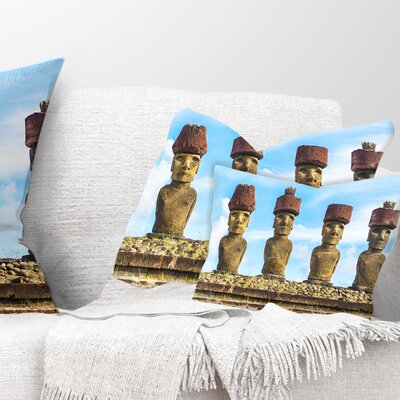Moai with Topknot Hat Portrait Photo Pillow Size: 12 x 20, Product Type: Lumbar Pillow