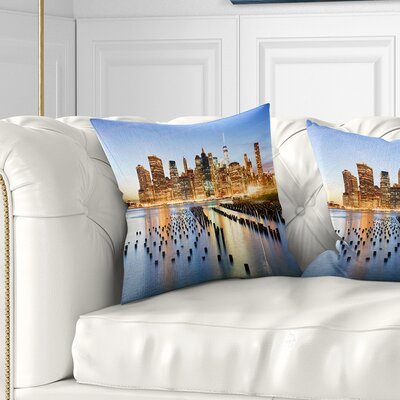 New York Skyline with Skyscrapers Cityscape Pillow Size: 18 x 18, Product Type: Throw Pillow