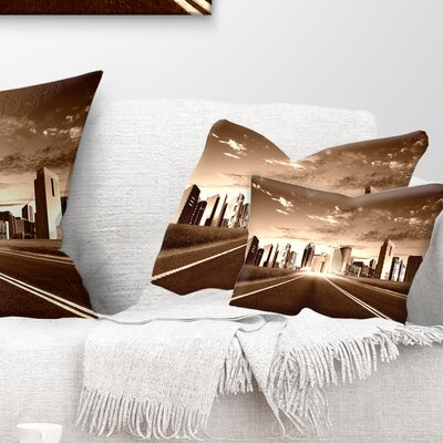 Modern City and Road Cityscape Pillow Size: 12 x 20, Product Type: Lumbar Pillow