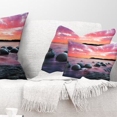 Moeraki Boulders at Sunset Seashore Photo Pillow Size: 12 x 20, Product Type: Lumbar Pillow