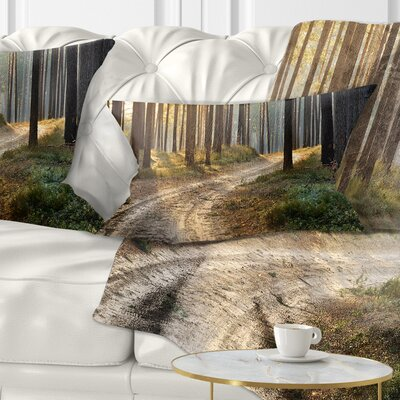 Road in Thick Morning Forest Landscape Photo Pillow Size: 12 x 20, Product Type: Lumbar Pillow