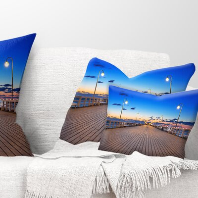Molo in Sopot at Baltic Sea Sea Bridge Pillow Size: 12 x 20, Product Type: Lumbar Pillow