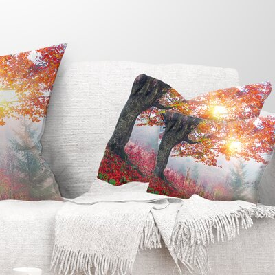 Morning in Misty Forest Landscape Photo Pillow Size: 12 x 20, Product Type: Lumbar Pillow