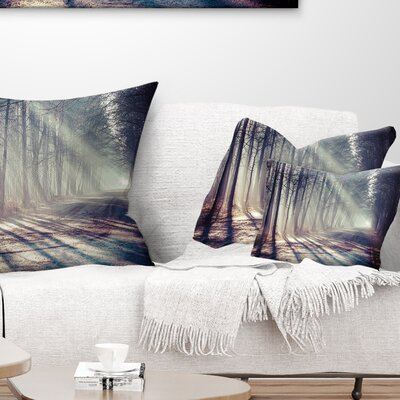 Morning Sunbeams to Forest Road Landscape Photography Pillow Size: 12 x 20, Product Type: Lumbar Pillow