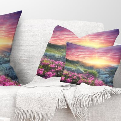 Morning with Flowers in Mountains Landscape Photography Pillow Size: 12 x 20, Product Type: Lumbar Pillow